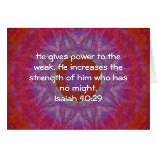 Strength From God Bible Verses Quote Isaiah 40:29 Card