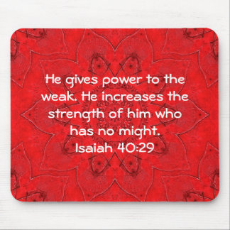Strength From God Bible Verses Quote Isaiah 40:29 Mouse Pad