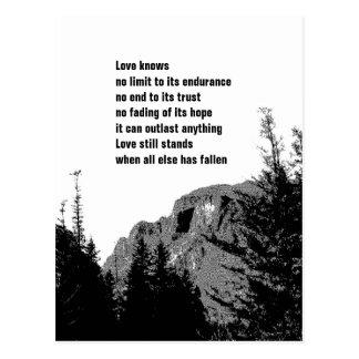 Strength in Love/ Mountain Scenery in B/W Postcard