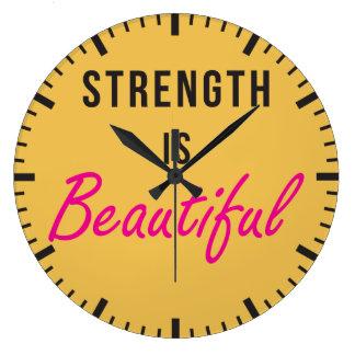 Strength Is Beautiful - Female Gym Motivation Large Clock