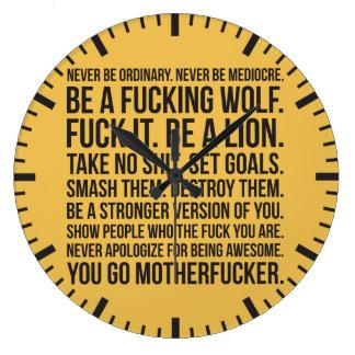 Strength Motivation - Never Be Ordinary Shirt Large Clock