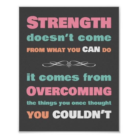 21 Motivational Quotes About Strength: Strength Motivational Quote Poster