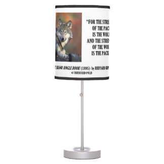 Strength Of The Pack Is The Wolf Kipling Quote Desk Lamp