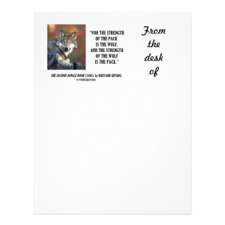 Strength Of The Pack Is The Wolf Kipling Quote Letterhead