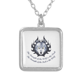 STRENGTH OF THE WOLF SQUARE PENDANT NECKLACE