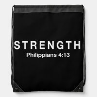 Strength Philippians 4:13 Drawstring Backpack