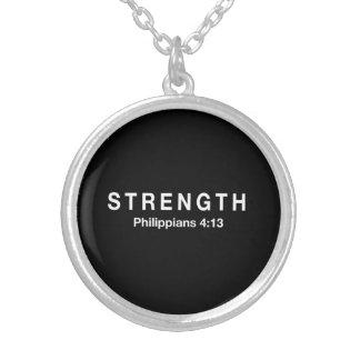 Strength Philippians 4:13 Round Pendant Necklace