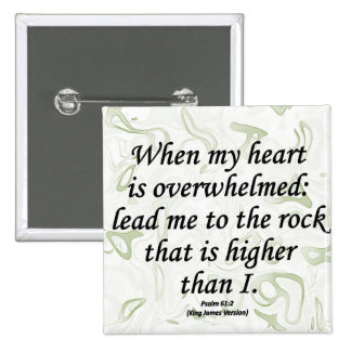Strength Psalm 61-2 2 Inch Square Button
