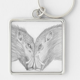 Strength Silver-Colored Square Keychain