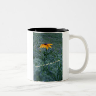 Strength solitude yellow flower quote coffee cup