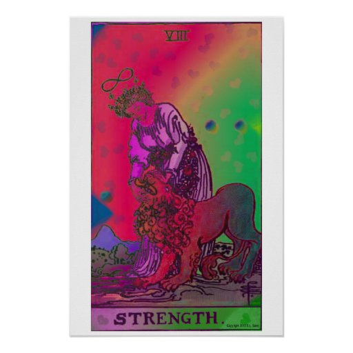 Strength Tarot Card Psychedelic Poster