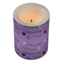 Strength Wisdom Compassion Faith Flameless Candle