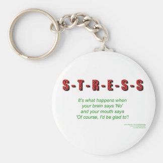 Stress Basic Round Button Keychain