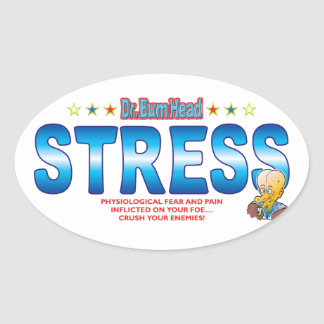 Stress Dr Bum Head Oval Sticker