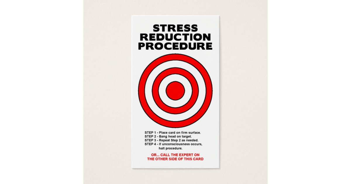 Stress Reduction Funny Business Card | Zazzle.com