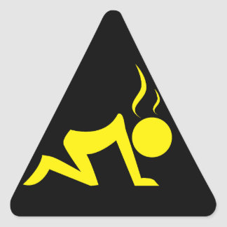 Stress Symbol (Yellow on Black) Triangle Sticker