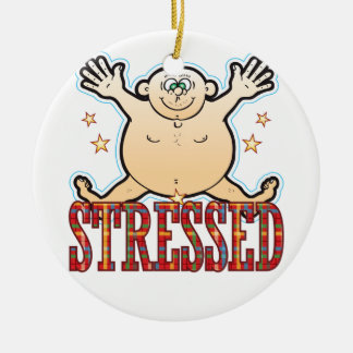 Stressed Fat Man Ceramic Ornament