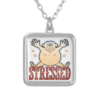 Stressed Fat Man Silver Plated Necklace