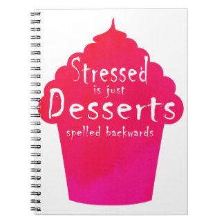 """stressed is just desserts spelled backwards"" cake notebook"