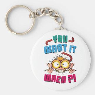 Stressed Monkey Basic Round Button Keychain
