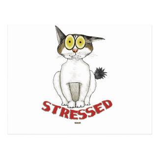 Stressed Out Cat Lucy Postcard