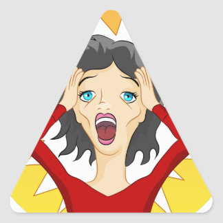 Stressed Out Panic Girl Cartoon Triangle Sticker