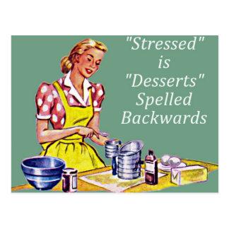 Stressed retro es postres deletreados al revés postales