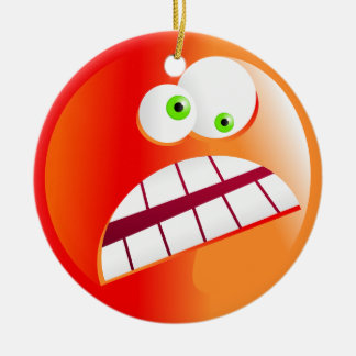 Stressed Smilie Double-Sided Ceramic Round Christmas Ornament