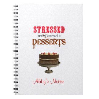 STRESSED spelled backwards is DESSERTS chocolate Spiral Notebook