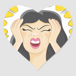 Stressed Woman Cartoon Heart Sticker