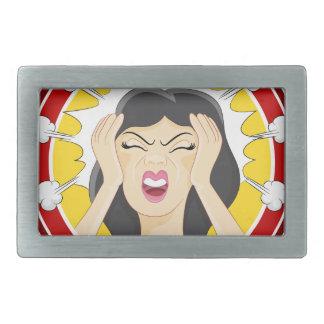 Stressed Woman Cartoon Rectangular Belt Buckle