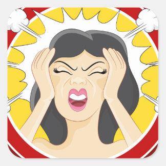Stressed Woman Cartoon Square Sticker