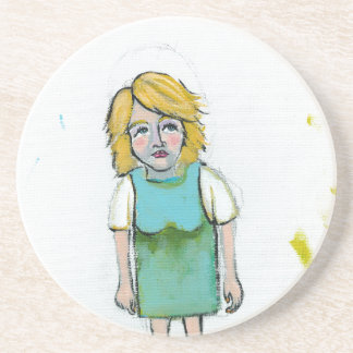 Stressed woman let it go unique outsider art drink coaster