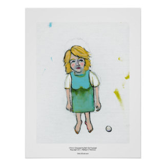 Stressed woman let it go unique outsider art poster