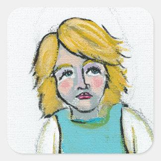 Stressed woman let it go unique outsider art square sticker