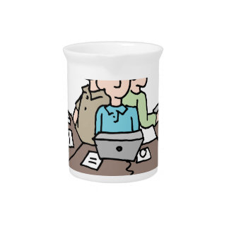 Stressful crowded workplace environment beverage pitcher