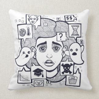 """""""Stresshead"""" Anxious Stressed Woman Drawing Pillow"""