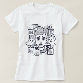 """Stresshead"" Anxious Stressed Woman Drawing Shirt"
