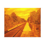 Stretch canvas with photo of railroad on it. canvas prints