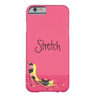 Stretch Striped Kitty on Pink Barely There iPhone 6 Case