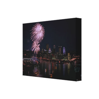 Stretched Canvas -Photo-Pittsburgh-With Fireworks
