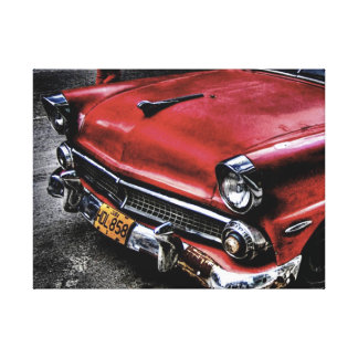 Stretched Canvas Print Classic Red Car