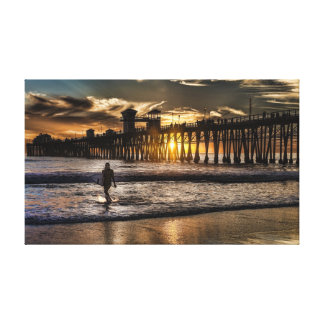 Stretched Canvas Print of a surfer at sunset