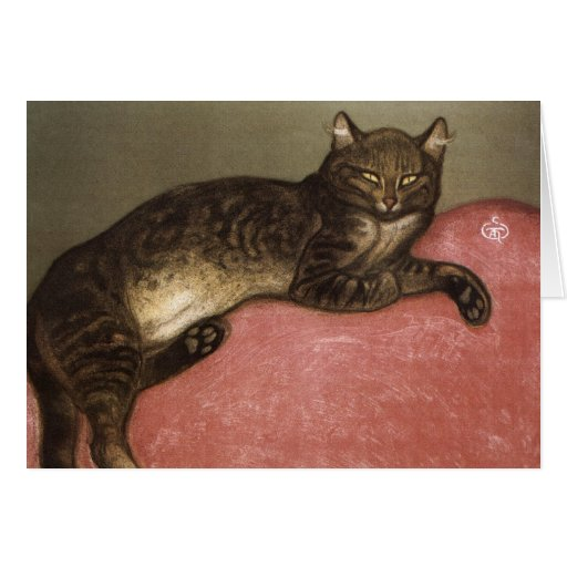 Stretched Cat on Sofa - by Theophile Steinlen Card