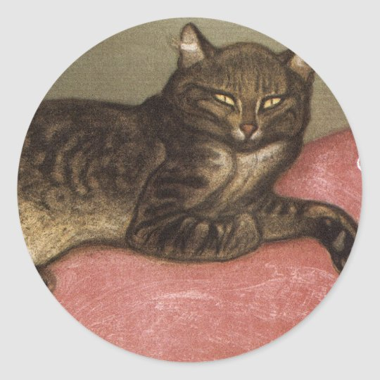 Stretched Cat on Sofa - by Theophile Steinlen Classic Round Sticker