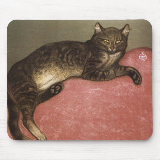 Stretched Cat on Sofa - by Theophile Steinlen Mouse Pad