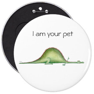 Stretched dragon pinback button