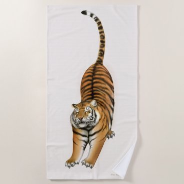 Beach Themed Stretching Bengal Tiger Beach Towel