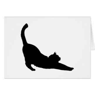 Stretching Black Cat Silhouette Card