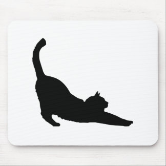Stretching Black Cat Silhouette Mouse Pad
